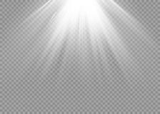 Efecto luminoso del resplandor Explosión de la estrella con las chispas Luz del sol Imagen de archivo libre de regalías