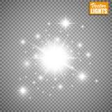 Efecto luminoso del resplandor Ilustración del vector Concepto de destello de la Navidad Fotos de archivo libres de regalías