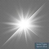 Efecto luminoso del resplandor Starburst con las chispas en fondo transparente Ilustración del vector ilustración del vector