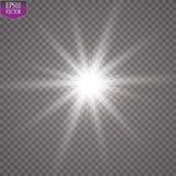 Efecto luminoso del resplandor Starburst con las chispas en fondo transparente Ilustración del vector Fotografía de archivo libre de regalías