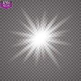 Efecto luminoso del resplandor Starburst con las chispas en fondo transparente Ilustración del vector Dom Foto de archivo libre de regalías