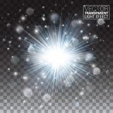 Efecto luminoso del resplandor transparente Explosión de la estrella con las chispas Brillo verde Fotografía de archivo libre de regalías