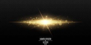 Efecto luminoso elegante mágico abstracto sobre un fondo transparente Flash del oro Bokeh luminoso del polvo y de los resplandore