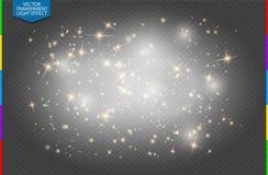 Efecto luminoso especial de las chispas del brillo de oro blanco semitransparente de las estrellas El vector chispea fondo transp Fotografía de archivo libre de regalías
