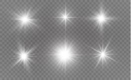 Efecto luminoso especial del brillo blanco de las chispas El vector chispea en fondo transparente Modelo abstracto de la Navidad Foto de archivo