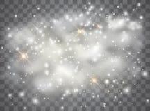 Efecto luminoso especial del brillo blanco de las chispas El vector chispea en fondo transparente P?rticulas de polvo m?gicas chi imagen de archivo libre de regalías