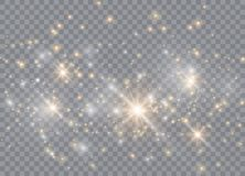 Efecto luminoso especial del brillo blanco de las chispas El vector chispea en fondo transparente P?rticulas de polvo m?gicas chi fotografía de archivo libre de regalías