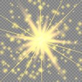 Efecto luminoso que brilla intensamente de oro ilustración del vector