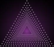 Efecto luminoso triangular, partículas ligeras, luz de neón, túnel triangular, ejemplo del vector ilustración del vector