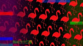 Efecto revuelto colorido contra flamencos rosados sobre fondo oscuro libre illustration