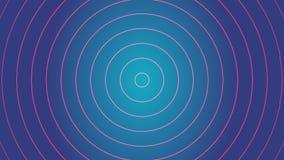Efecto rojo de la señal de radio y fondo azul Fondo del gráfico de la animación y del movimiento Círculos que irradian la onda ha metrajes