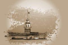 Efecto virginal Estambul de la sepia del kulesi del kiz de la torre del ` s Imagen de archivo libre de regalías