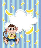 Efectos de escritorio con un mono y los plátanos Fotos de archivo
