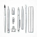 Efectos de escritorio determinados aislados hechos a mano en estilo del bosquejo Artículos de la escritura Fotografía de archivo