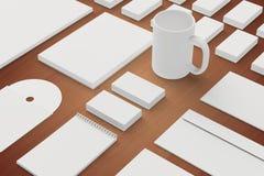 Efectos de escritorio en blanco y plantilla corporativa de la identificación Fotografía de archivo libre de regalías