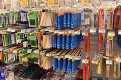 Efectos de escritorio por el año escolar en el supermercado Fotografía de archivo