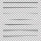Efectos de sombra de papel realistas del divisor sobre fondo transparente Vector ilustración del vector