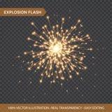 Efectos luminosos que brillan intensamente de oro aislados sobre fondo transparente Flash de la explosión con los rayos y el proy libre illustration