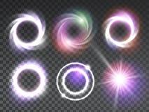 Efectos luminosos que brillan intensamente transparentes aislados fijados Imagenes de archivo