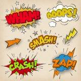 Efectos sonoros cómicos con el estilo Set2 de Grunged stock de ilustración