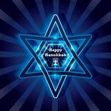 Efeito brilhante feliz da estrela do Hanukkah Foto de Stock