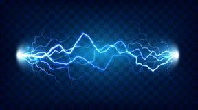 Efeito chocado da descarga elétrica para o projeto Põe o relâmpago da energia elétrica ou o vetor isolado efeitos da eletricidade ilustração stock