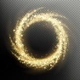 Efeito claro da folha de prova do círculo dos fogos de artifício do redemoinho da partícula do brilho do ouro Eps 10 ilustração royalty free