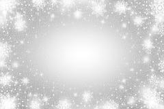 Efeito da geada da neve O branco brilhante abstrato vislumbra luzes e flocos de neve Blizzard de incandescência Scatter que cai e ilustração do vetor