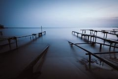 Efeito da grão de um porto de pesca Imagem de Stock