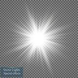 Efeito da luz do fulgor Explosão da estrela com Sparkles Ilustração do vetor Sun