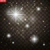 Efeito da luz do fulgor Explosão da estrela com Sparkles ilustração stock