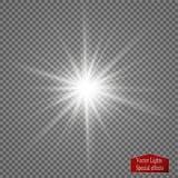 Efeito da luz do fulgor Explosão da estrela com Sparkles Luzes de incandescência douradas Foto de Stock
