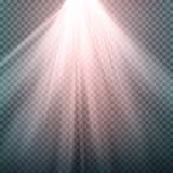 Efeito da luz do fulgor O feixe irradia o vetor Efeito da luz especial do alargamento da lente da luz solar Isolado no fundo tran ilustração do vetor