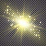 Efeito da luz do fulgor Starburst com sparkles no fundo transparente Ilustração do vetor Sun ilustração royalty free