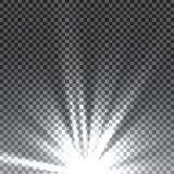 Efeito da luz especial do alargamento da lente da luz solar transparente do vetor Flash de Sun com raios e projetor ilustração stock