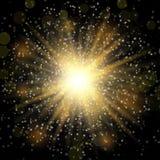 Efeito da luz especial do alargamento da lente da luz solar transparente do vetor Glitter verde Explosão da estrela com Sparkles  ilustração do vetor