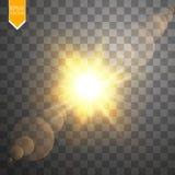Efeito da luz especial do alargamento da lente da luz solar transparente do vetor Flash de Sun com raios e projetor Fotos de Stock Royalty Free