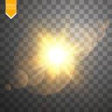 Efeito da luz especial do alargamento da lente da luz solar transparente do vetor Flash de Sun com raios e projetor Foto de Stock