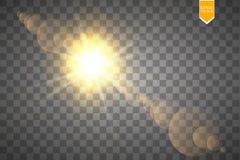 Efeito da luz especial do alargamento da lente da luz solar transparente do vetor Flash de Sun com raios e projetor Foto de Stock Royalty Free