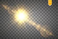 Efeito da luz especial do alargamento da lente da luz solar transparente do vetor Flash de Sun com raios e projetor Imagens de Stock