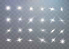 Efeito da luz especial do brilho branco das faíscas O vetor sparkles no fundo transparente Teste padrão abstrato do Natal ilustração stock