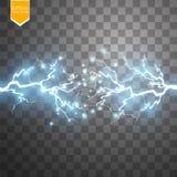 Efeito da luz especial da explosão abstrata azul de choque da energia com faísca Conjunto do relâmpago do poder do fulgor do veto ilustração do vetor