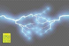 Efeito da luz especial da explosão abstrata azul de choque da energia com faísca Conjunto do relâmpago do poder do fulgor do veto Fotografia de Stock