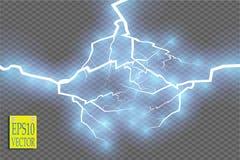 Efeito da luz especial da explosão abstrata azul de choque da energia com faísca Conjunto do relâmpago do poder do fulgor do veto Fotos de Stock