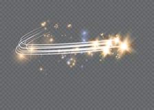 Efeito da luz mágico de incandescência abstrato da estrela do borrão de néon de linhas curvadas Fuga de brilho da poeira de estre imagem de stock