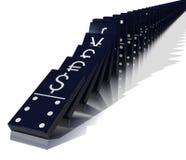 Efeito de dominó econômico Fotografia de Stock