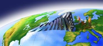 Efeito de dominó global Fotografia de Stock