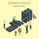 Efeito de dominó isométrico a do começo do homem e conceito da reação em cadeia Metáfora do negócio Solução e ajuda do negócio ilustração do vetor