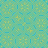Efeito de néon verde sextavado Honey Comb Hex Pattern do caleidoscope ilustração stock