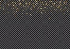 Efeito de queda das partículas do brilho do ouro no fundo transparente ilustração stock